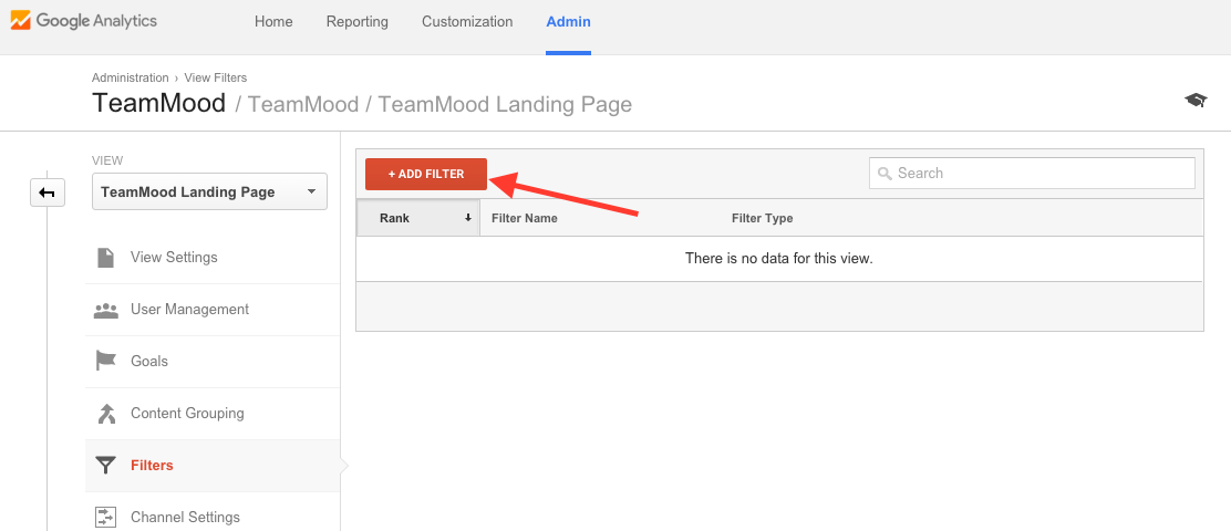 Add a new filter in Google Analytics